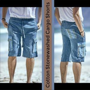 Men's Cotton Stonewash Cargo Shorts w/ Pockets